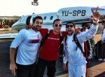 FOTO: Janko Tipsarevic, Victor Troicki şi Nenad Zimonjic fericiţi la plecarea din Suedia