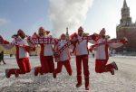 Jucatoarele Rusiei in Piata Rosie