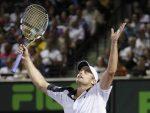 POZA ZILEI, 27 martie 2012: Andy Roddick după cea de-a treia victorie din carieră obţinută în faţa lui Roger Federer