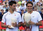 Roger Federer și Novak Djokovic dupa finala de la Cincinnati