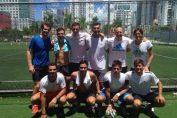 Horia Tecău la finalul meciului de fotbal cu Andy Murray