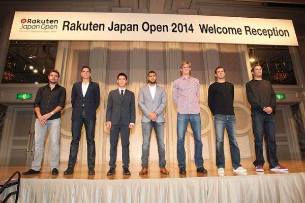 Players party Tokyo 2014 Tsonga, Raonic, Nishikori, Wawrinka