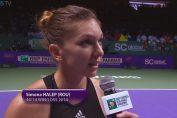 Simona Halep la finalul victoriei de la Turneul Campioanelor