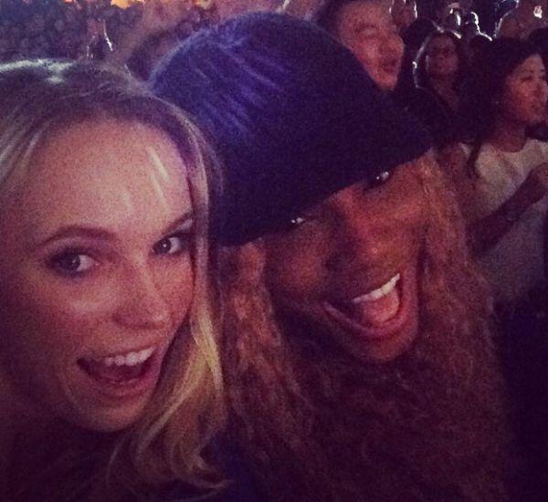 Serena Williams si Caroline Wozniacki la concertul Mariah Carey