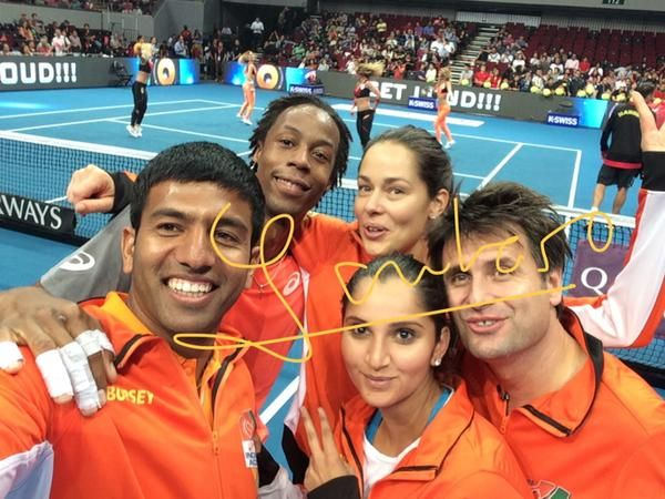 indian aces iptl tennis selfie