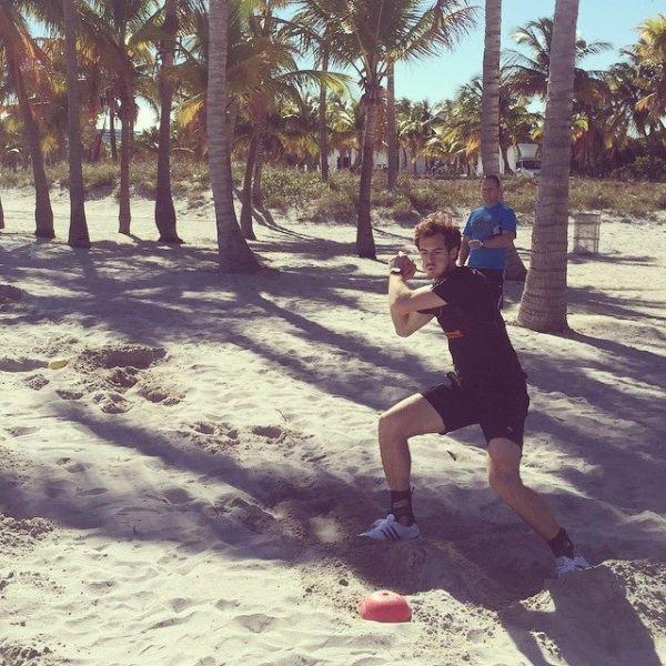 andy murray antrenament plaja nisip