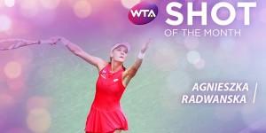 """Agnieszka Radwanska a câștigat pentru a treia oară în acest an """"lovitura lunii"""". Pe locul doi în preferințele fanilor s-a clasat Simona Halep. Schimbul de mingi interminabil câștigat, la Tokyo,..."""