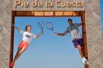 FOTOGALERIE: Eugenie Bouchard și Juan Martin del Potro au jucat tenis pe plajă la Acapulco