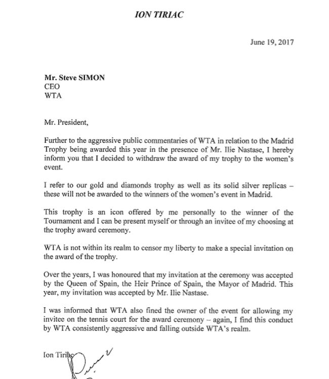 scrisoare ion tiriac wta