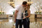 Caroline Wozniacki si iubitul ei, David Lee, la sedinta foto cu trofeul