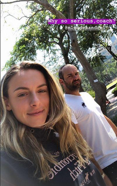 Ana Bogdan și antrenorul ei, Andrei Mlendea, în Hong Kong