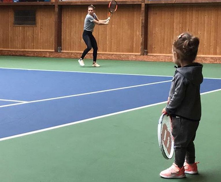 simona Halep a revenit la antrenament împreună cu Tania, nepoata ei