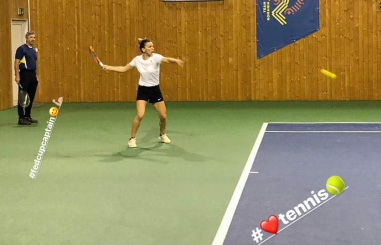 Simona halep s-a antrenat sub ochii lui Florin Segarceanu