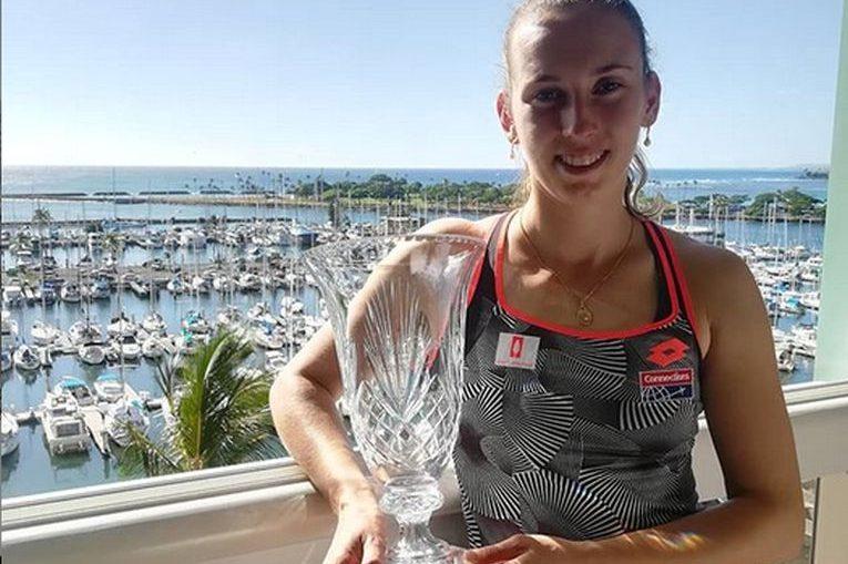 Elise Mertens trofeu turneu tenis demonstrativ hawaii 2018