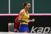 Simona Halep si bucuria victoriei in Fed Cup