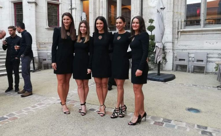 Echipa de Fed Cup a Romaniei la banchetul oficial al semifinalei cu Franta