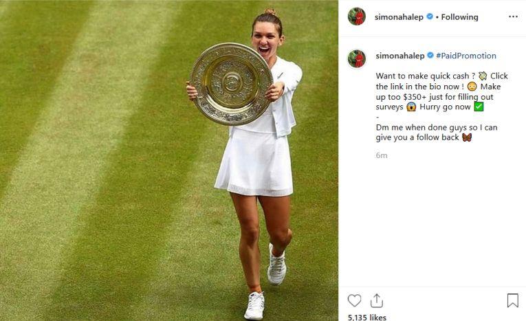 Hackerii au folosit chiar si o fotografie cu Simona si trofeul cucerit la Wimbledon