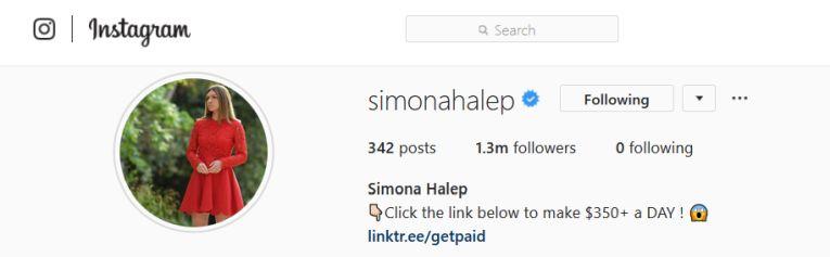 Asa arata profilul Simonei Halep pe Instagram după ce i-a fost spart contul