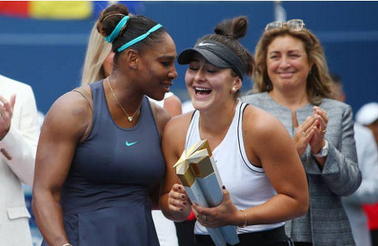 Bianca Andreescu si Serena Williams, după finala Rogers Cup 2019, de la Toronto