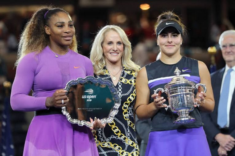 Bianca Andreescu si Serena Williams, la festivitatea de premiere de la US Open 2019