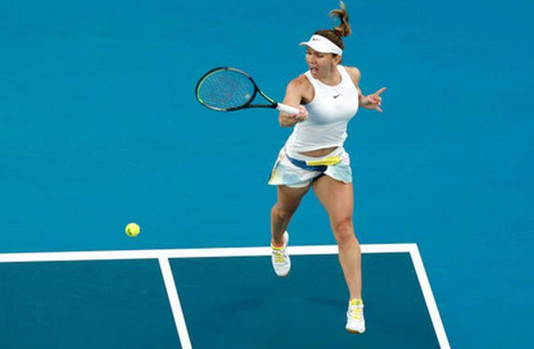 Simona Halep în timpul jocului, în turul secund de la Australian Open 2020