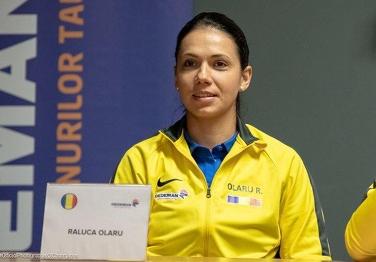 Raluca Olaru la conferința de presă a echipei de Fed Cup a României înaintea meciului cu Rusia