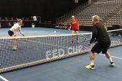 Kim Clijsters la antrenament cu echipa de Fed Cup a Belgiei