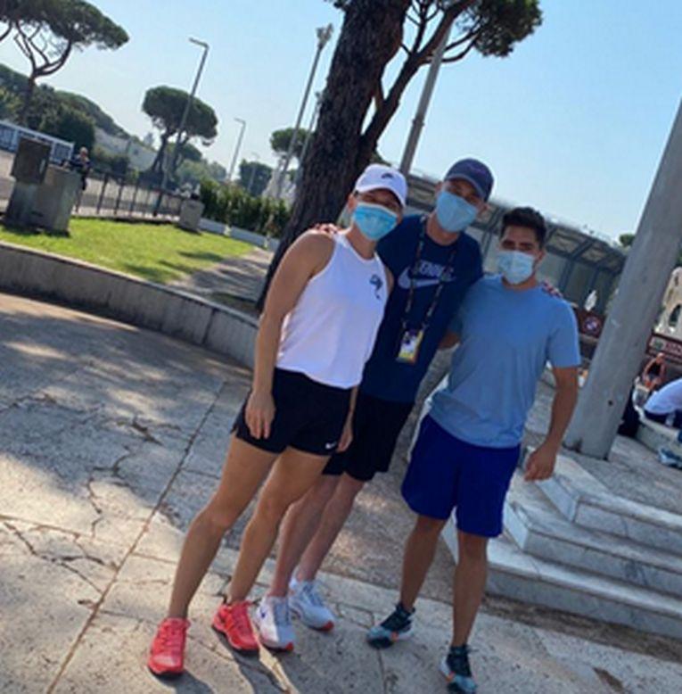Simona Halep,cu Darren Cahill, la Roma