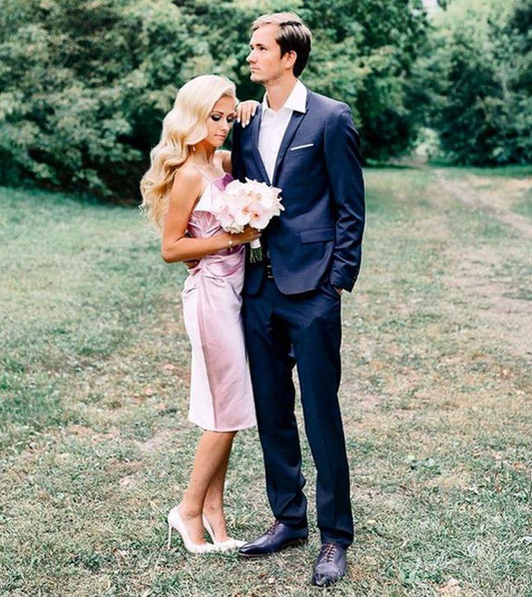 Daria Medvedev, soția lui Daniil Medvedev, a purtat o rochie roz la nuntă
