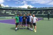 Horia Tecau si Andy Murray la finalul antrenamentului de la Miami