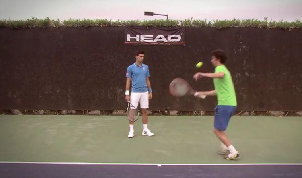 Djokovic head reclama trick shot