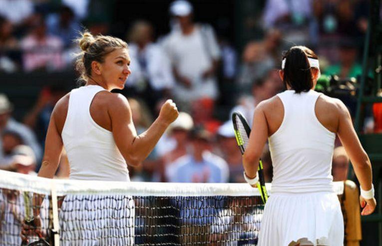 Simona Halep după victoria cu Saisai Zheng de la Wimbledon 2018