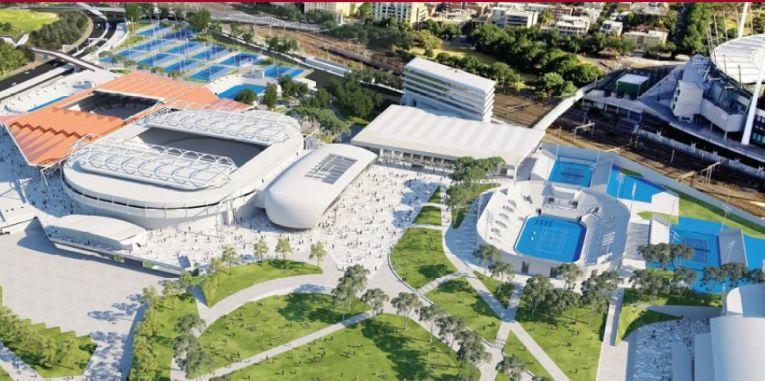 Imaginea machetei complexului Melbourne Park, pe care se dispută meciurile de la Australian Open 2020. Complexul are 22 de terenuri, dintre care trei cu acoperiș retractabil