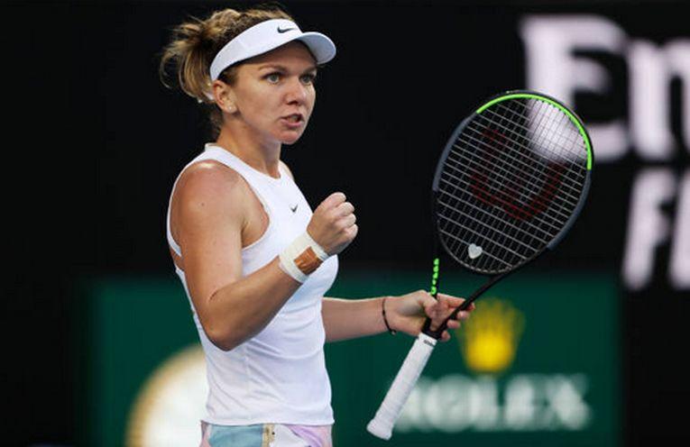 Simona Halep își arată bucuria după victoria din primul tur de la Australian Open 2020