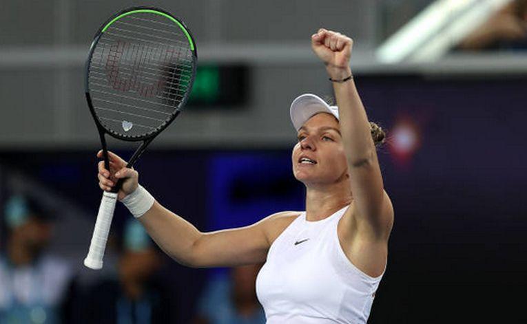 Simona Halep și bucuria izvorâtă din victoria obținută în fața americancei Jennifer Brady la Australian Open 2020