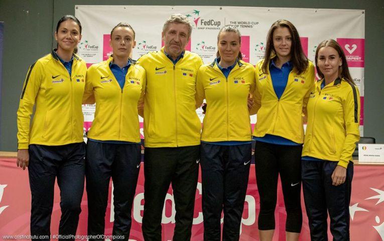 Jucătoarele echipei de Fed Cup a României, după conferința de presă de dinaintea meciului cu Rusia